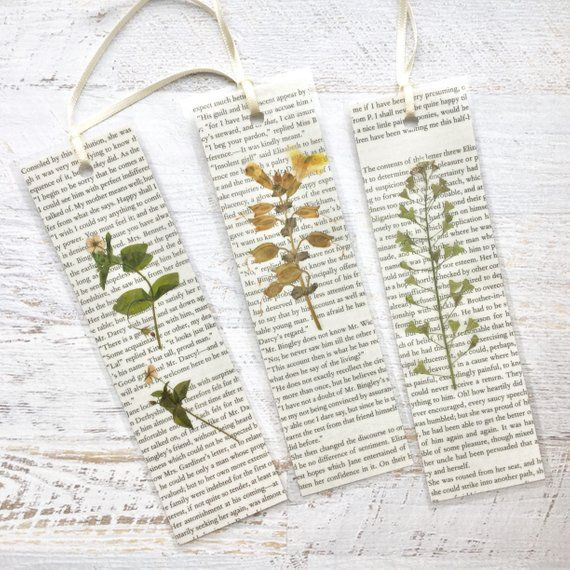 Jane Austen Romantic Pressed Flower Bookmark. Made from pressed California wildflowers and pages fro #bookspapersandthings