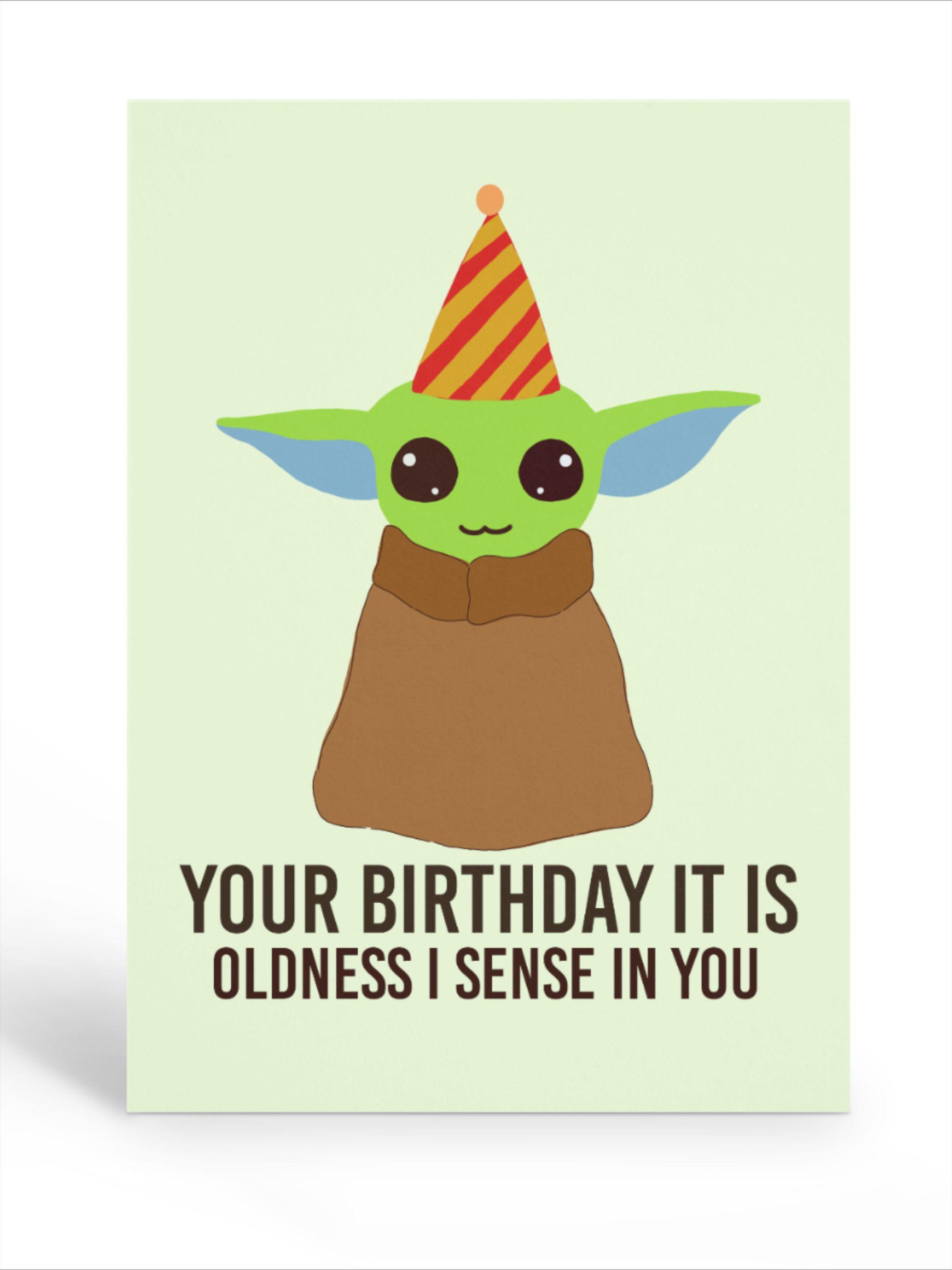 Star Wars Baby Yoda Happy Birthday Card Yoda Happy Birthday Cool Birthday Cards Yoda Card