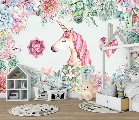 1 3d Color Flowers Pink Unicorn Background Wall Mural Wallpaper 322 Jessartdecoration Mural Wallpaper Mural Floral Wallpaper