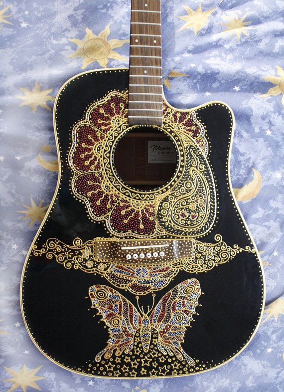 Guitar Decoration Customised Accords De Guitare Jouer De La Guitare Instrument De Musique
