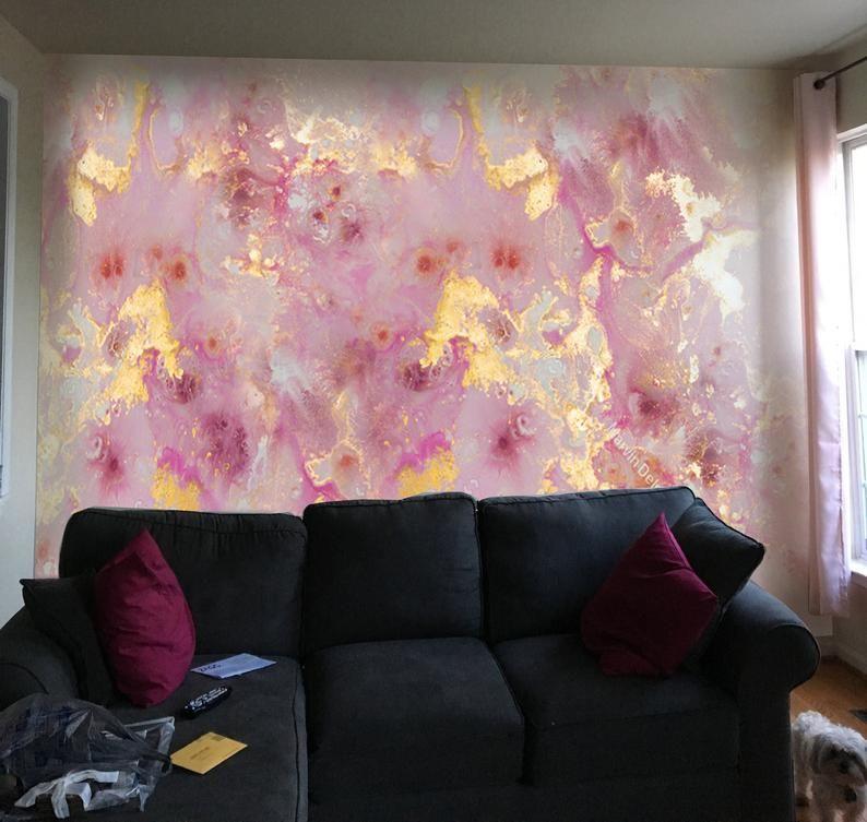 9f x 7ft ***Pink Purple Gold Marble*** Vinyl Wallpaper