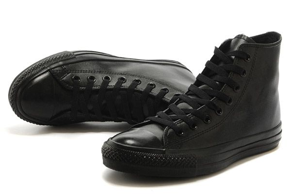 554ecc8617ab All Black All Star Leather Converse Monochrome High Tops Chuck Taylor All  Star  Converse-00142  -  162.00   Converse Shoes for Women