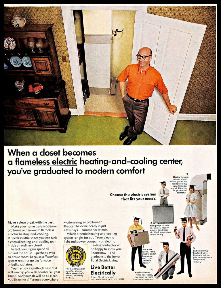 Details About 1968 Edison Electric Vintage Print Ad Household