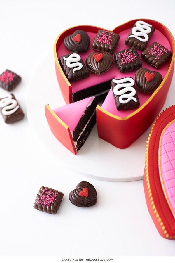 Valentine S Heart Candy Box Cake Chocolate Box Cake Valentines Day Cakes Valentines Sweets
