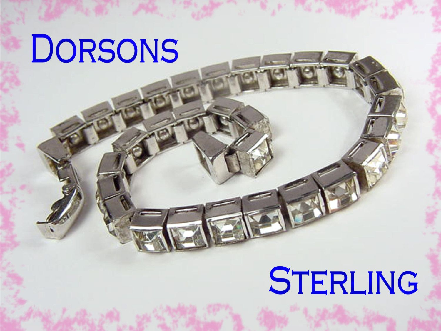 Dorsons - 1940s Sterling Silver - Art Deco Channel Set Princess Cut Crystal Paste Bracelet - Estate Antique Treasure - FREE SHIPPING