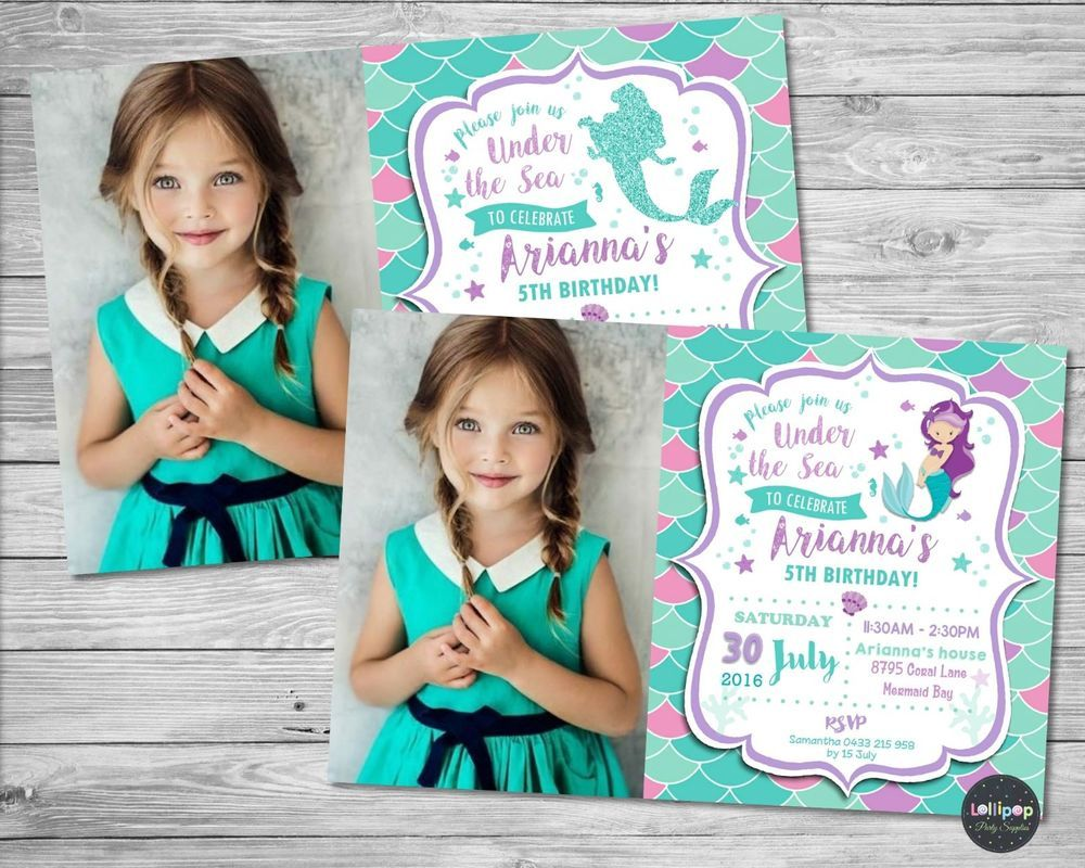 Mermaid personalised invitations invite card girls birthday party
