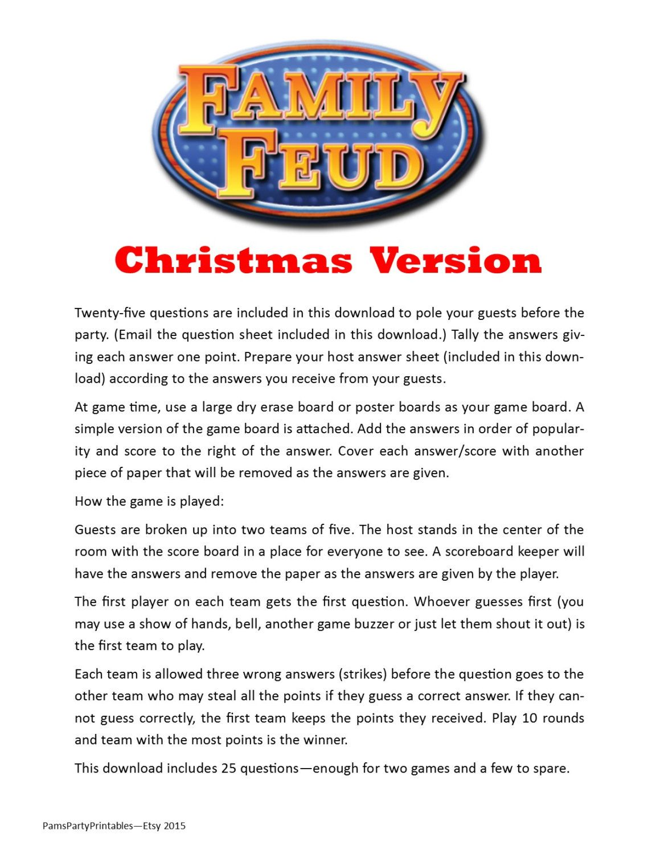 christmas family feud printable