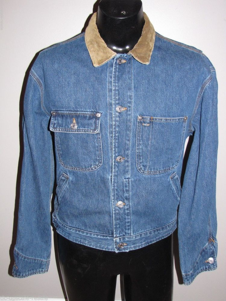 cbbd1637f45bca VTG Men Ralph Lauren Polo Denim Corduroy Denim Jacket Leather Patch M 90 s  EUC  RalphLauren  JeanJacket