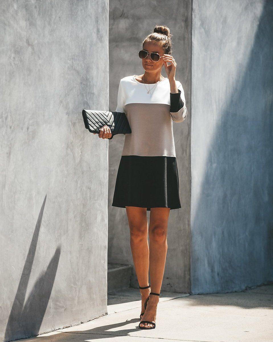 Expensive Taste Colorblock Shift Dress - Taupe/Black #expensivetaste