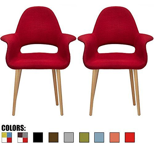 Set Of Two Red Upholstered Organic Arm Chair Armchair Fabric With Light Brown Natural Wood Leg Dining Room Modern