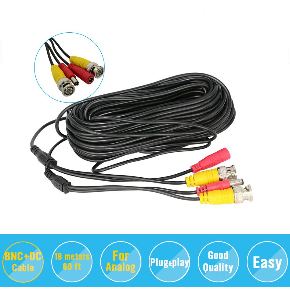 Bnc Video Power Siamese Cable 65ft 18m 20m For Analog Ahd Cvi Cctv Wiring Surveillance Cameras Camera Dvr