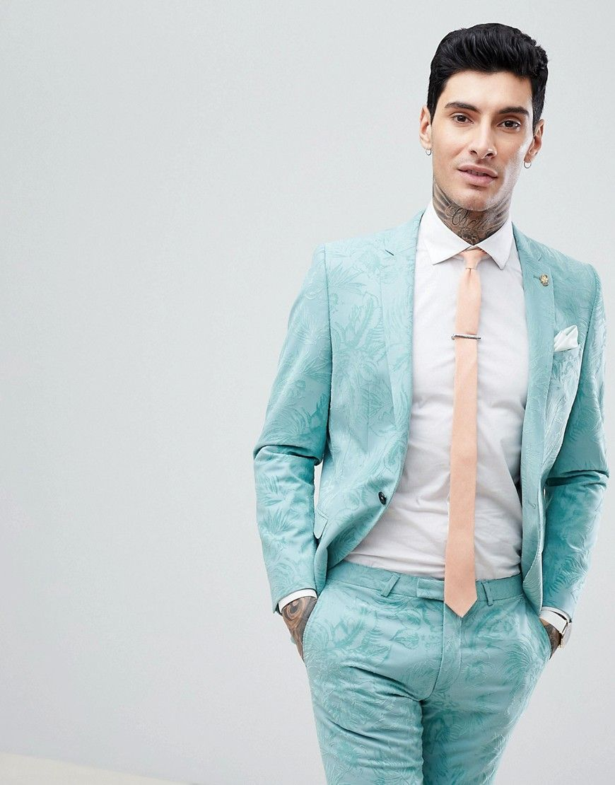 Noose & Monkey Super Skinny Wedding Suit Jacket In Flocking - Green ...