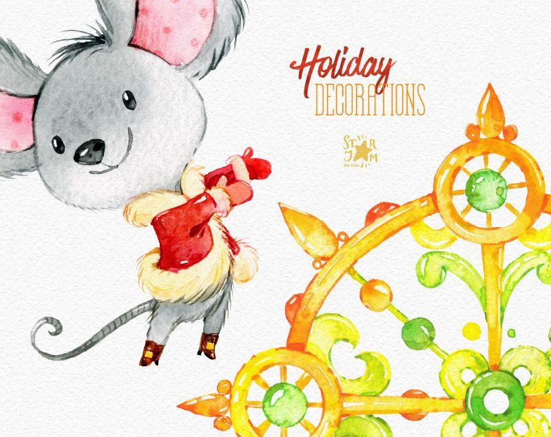 Decorazioni di festa. Acquerello di Natale clipart mouses