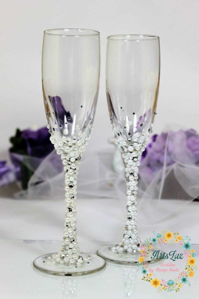 Pearls Wedding champagne glasses in ivory/white-Winter Wedding ...