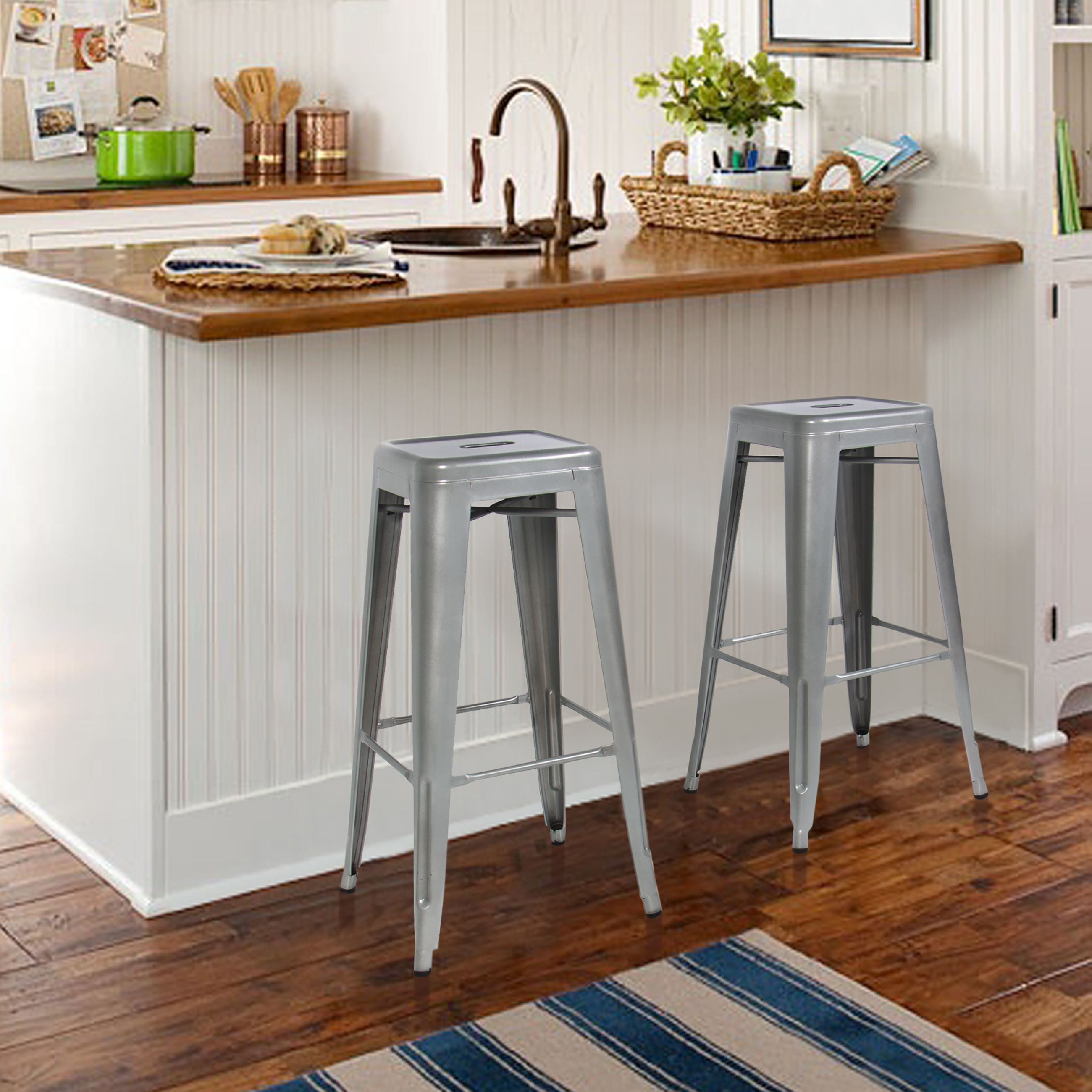 Best Choice Products Metal Bar Stools Set Of 2 Vintage Antique Style Counter Stool Modern French Silver These Are Made Sy Steel This
