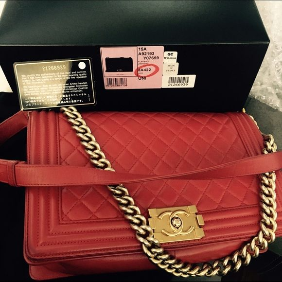 Chanel Boy New Medium Red Lambskin Good Condition Comes With - What is an invoice paypal chanel online store