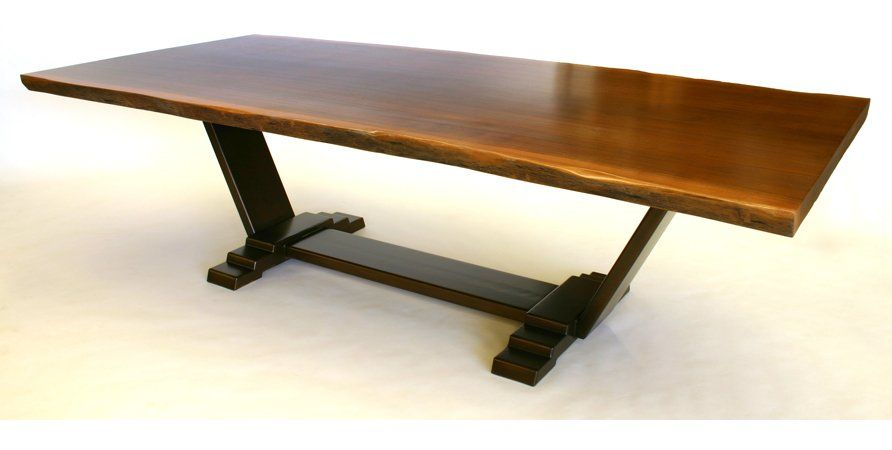 Sapele Slab Dining Table With Steel Base Yelp Dining Table