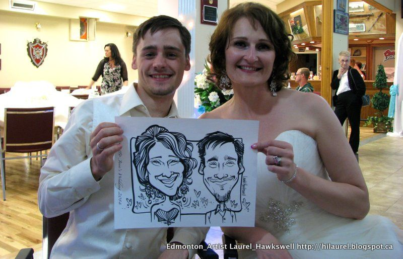 Caricatures at a wedding.  drawing at Events is always a good time to hear fun stories and draw...