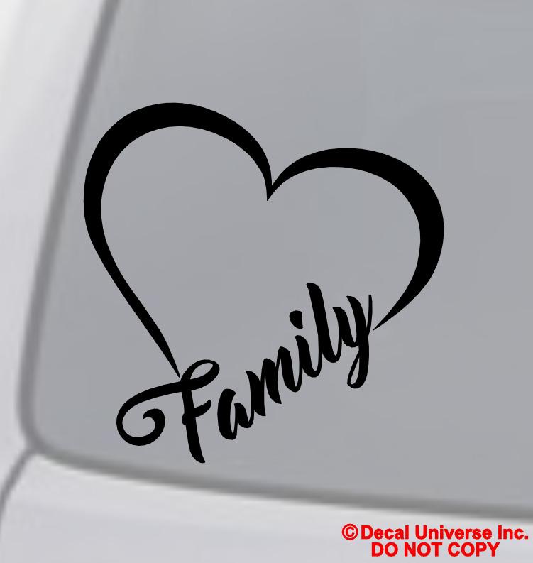 FAMILY HEART Vinyl Decal Sticker Car Window Wall Bumper Live Love Laugh Infinity