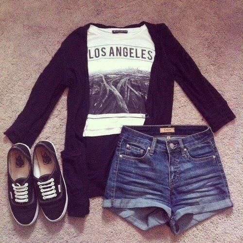 have: denim shorts, graphic tee, black sweater.. I MISS YOU L.A. !