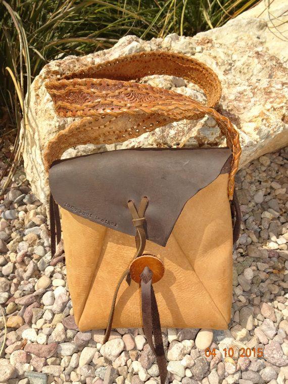 OOAK hippie hobo bag/hand made light brown by longshotleather