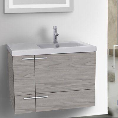 Photo of Ivy Bronx Ivy Hill 31″ Wall-Mounted Single Bathroom Vanity Set Base Finish: Gray Walnut