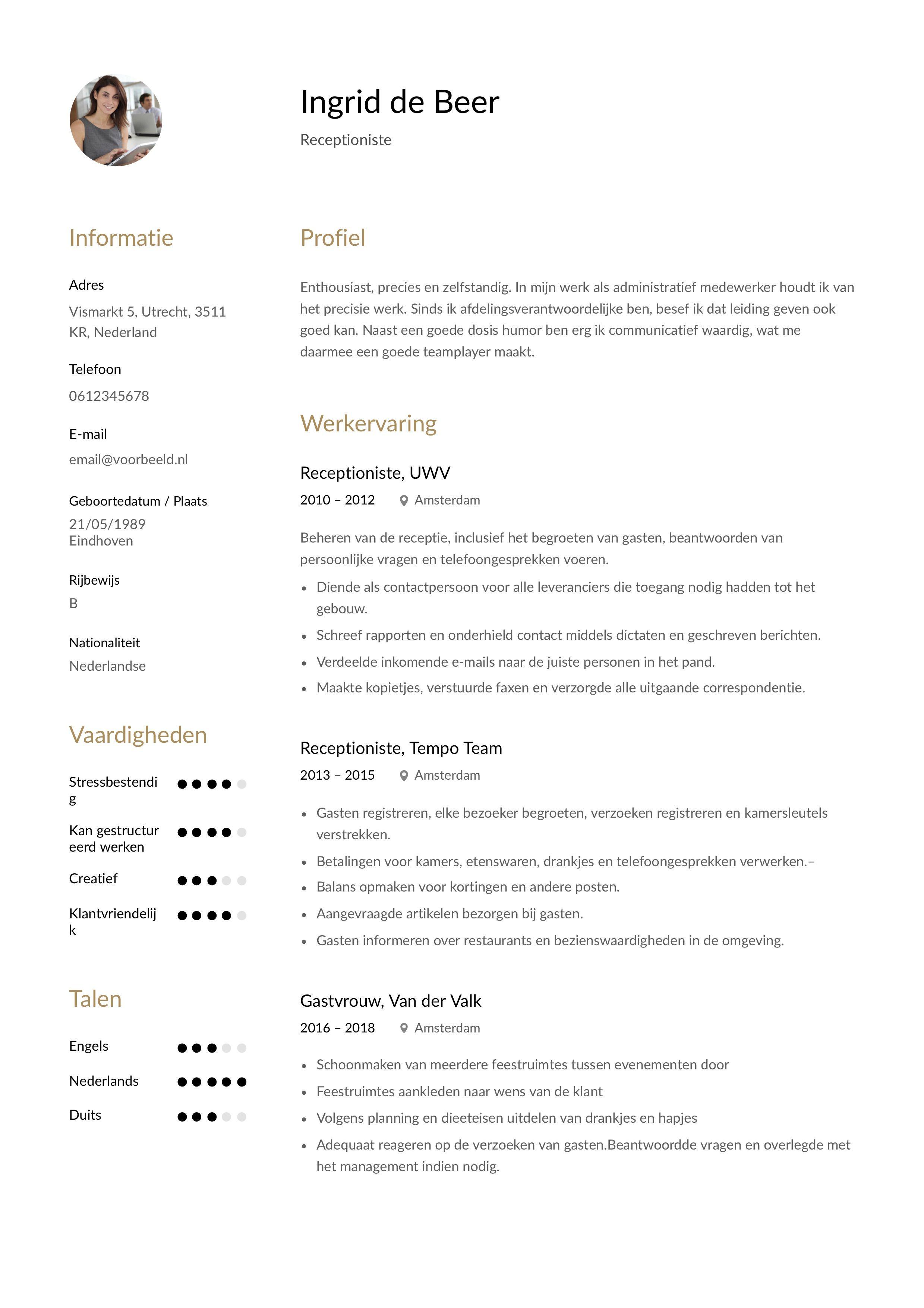 12x Gratis Voorbeeld CV Receptioniste in 2020 Receptioniste