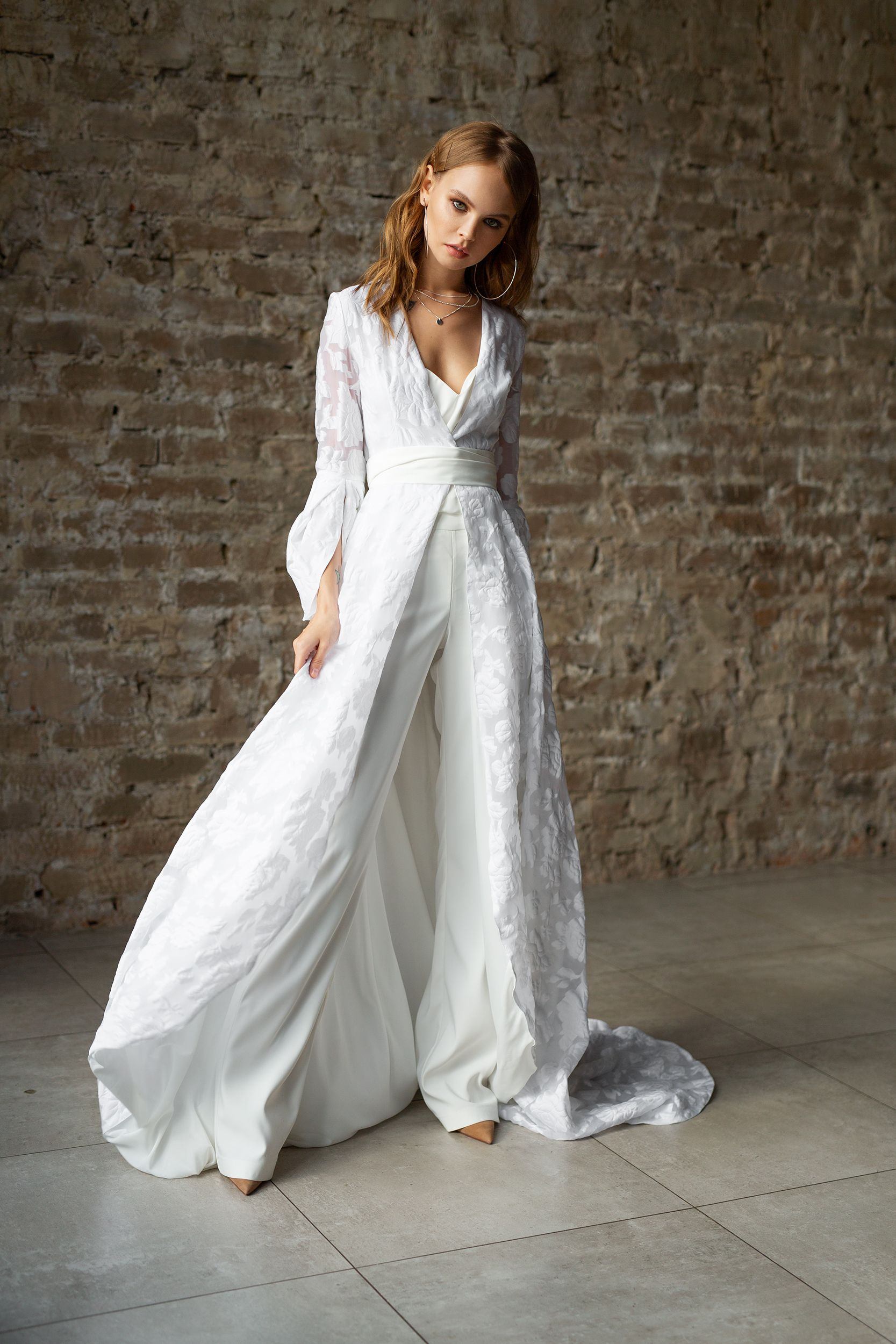 Alternative wedding dress wedding white suit modern