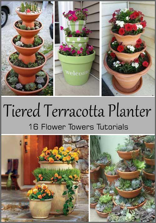 16 Tiered Terracotta Planter Tutorials - Clay Pot Crafts #flowerpot
