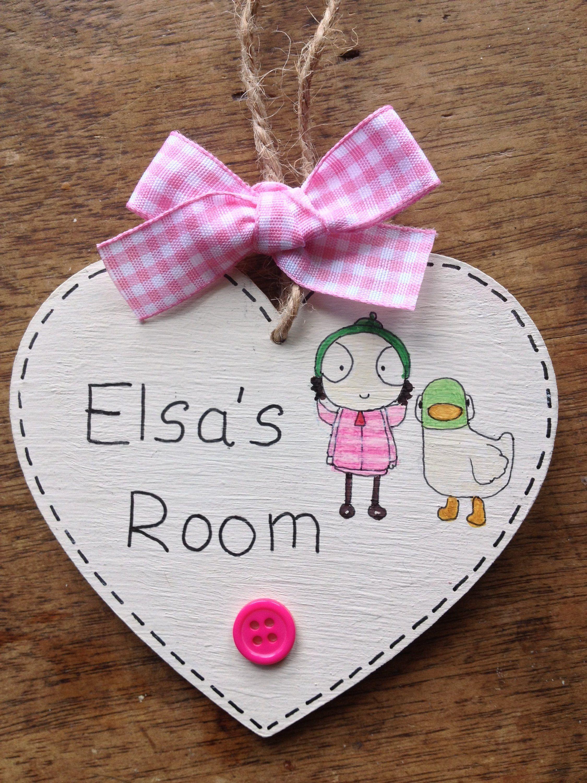 personalised name plaque door bedroom sign girls baby sarah and duck