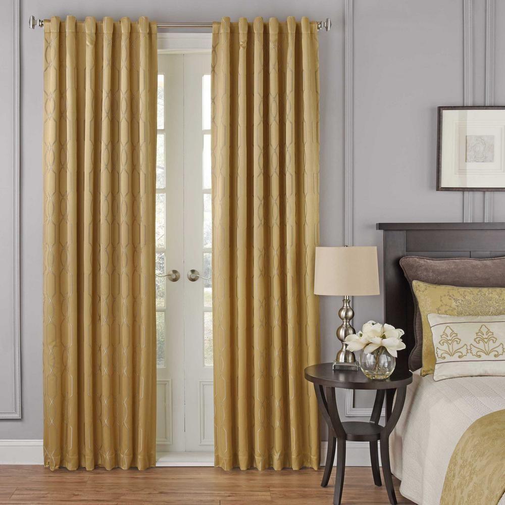 Beautyrest Yvon Blackout Window Curtain Panel In Gold 52 In W X