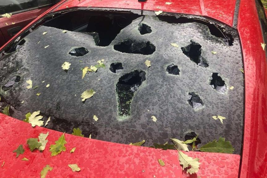'Every single car is smashed' Hail storm wreaks havoc in