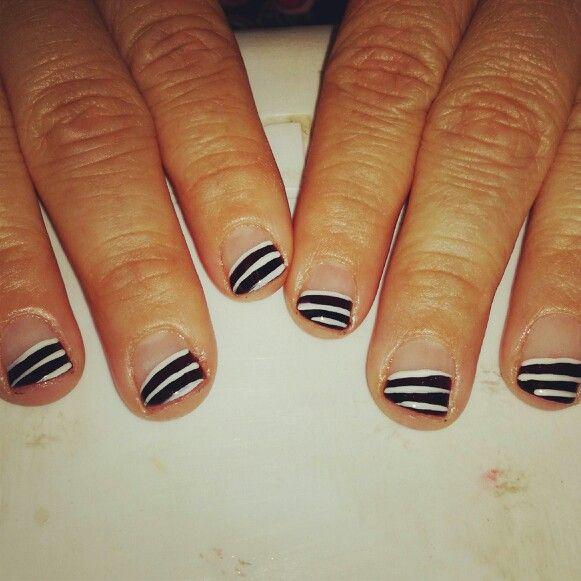 Black And White Nail Tip Designs Nails Pinterest White Nails