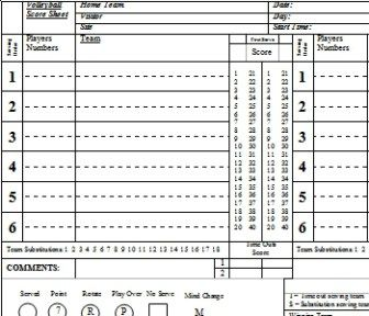 Volleyball Scoresheet  Data Voleibol    Volleyball