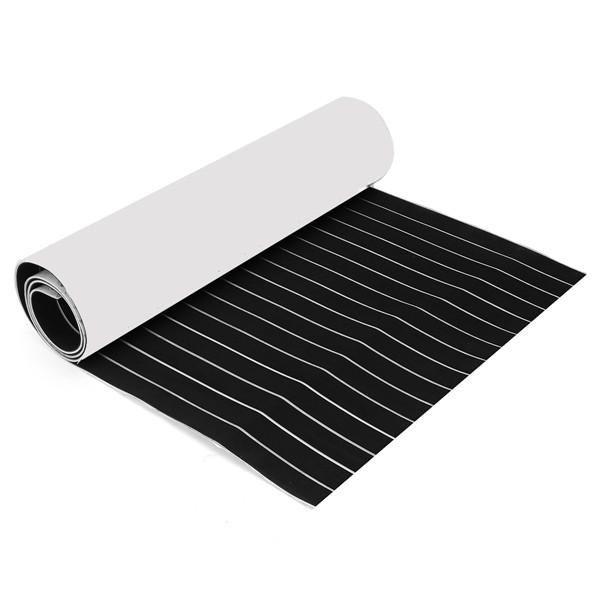 900x2400x6mm Black And White Self Adhesive Eva Foam Teak Sheet Boat Decking Faux Marine Floor Board