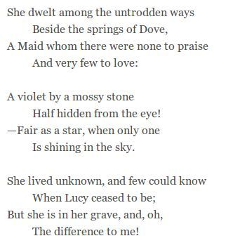 She Dwelt Among The Untrodden Way By William Wordsworth Poem Beautiful Poetry Essay On