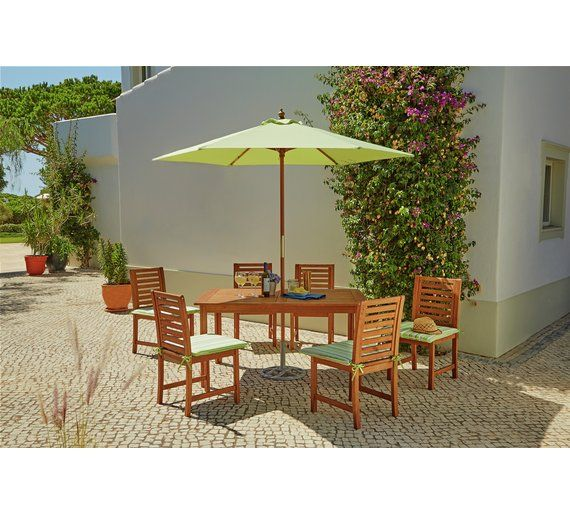 Buy Collection Madison 6 Seater Wooden Patio Set Green at Argos