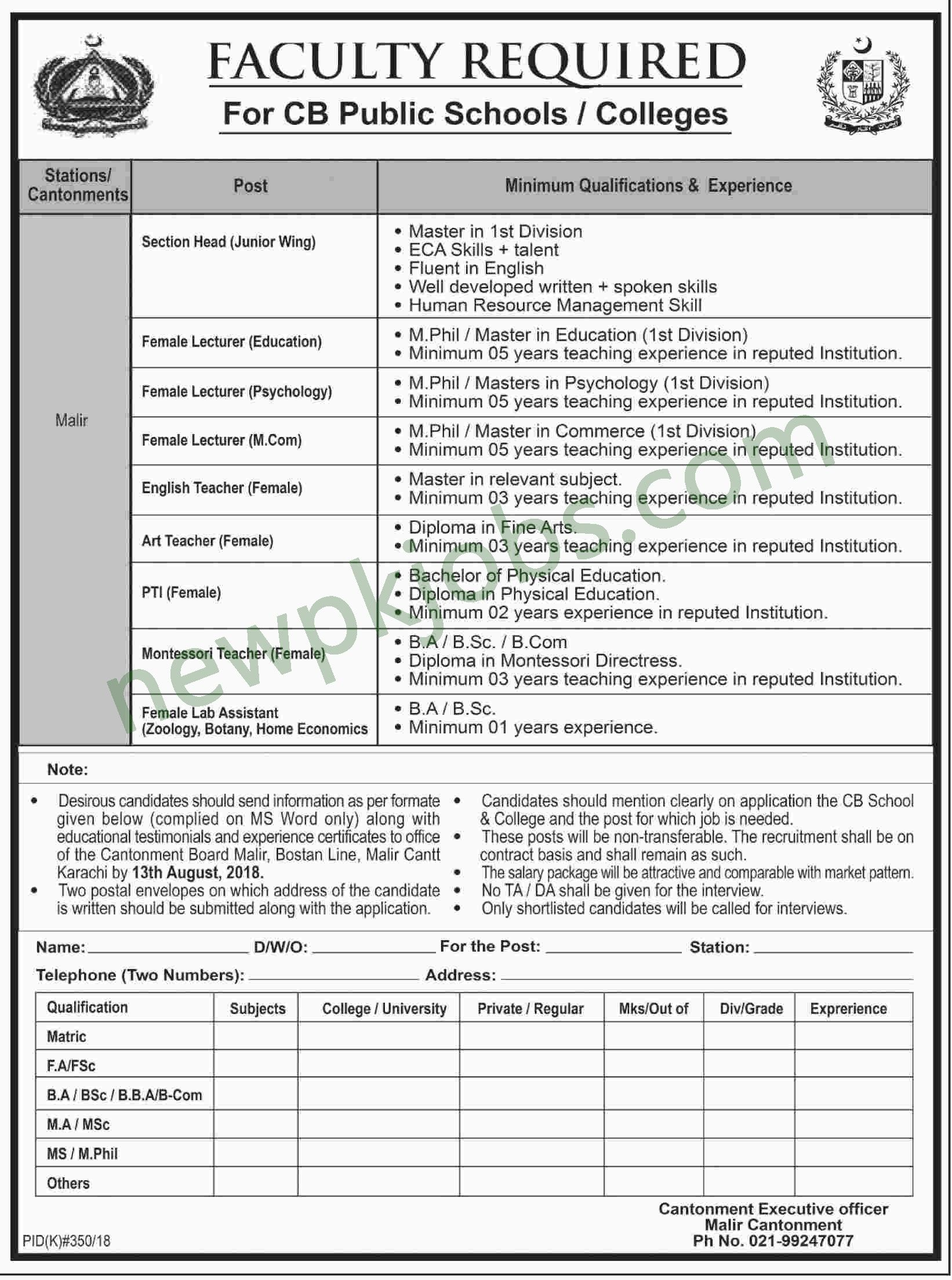 Teaching and Non Teaching Jobs in CB Public Schools and