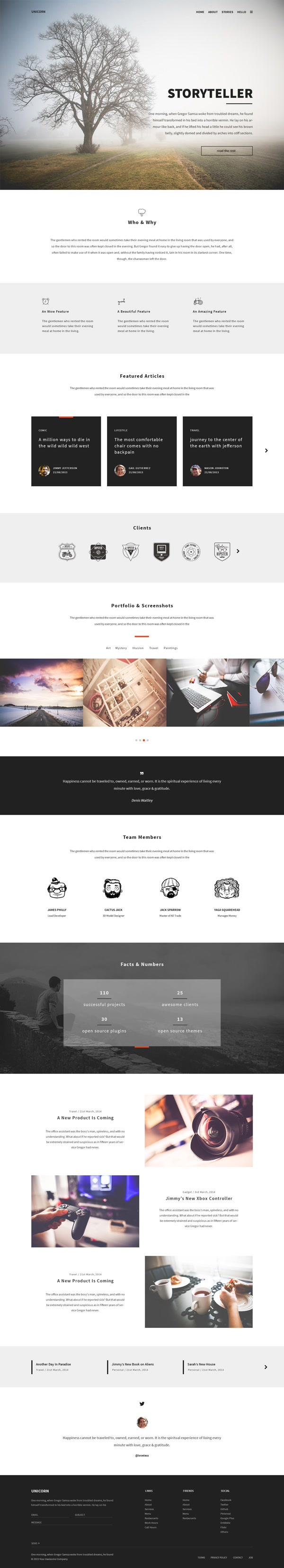 UNICORN PSD TEMPLATE - Hope it can help with your design. Feel free to download it all without any requirement on http://getfreeresources.com