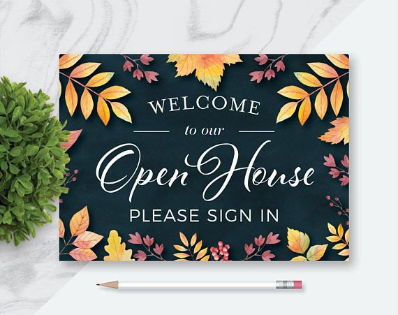 fall real estate welcome to our open house printables, please sign, Powerpoint templates