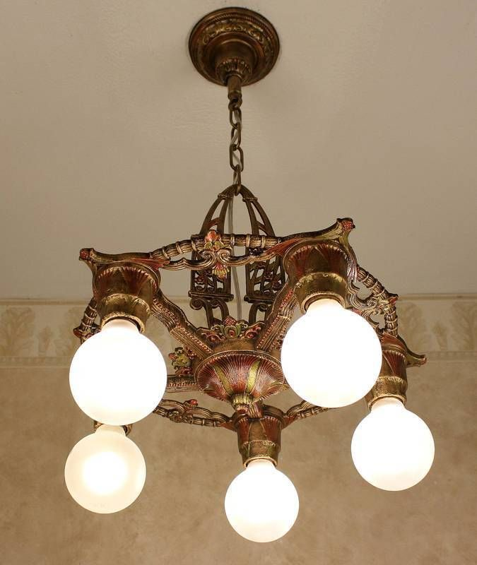 1920 S Cast Iron Antique Vintage Art Deco Ceiling Light Fixture Chandelier Chandelier Antique Chandelier Ceiling Lights