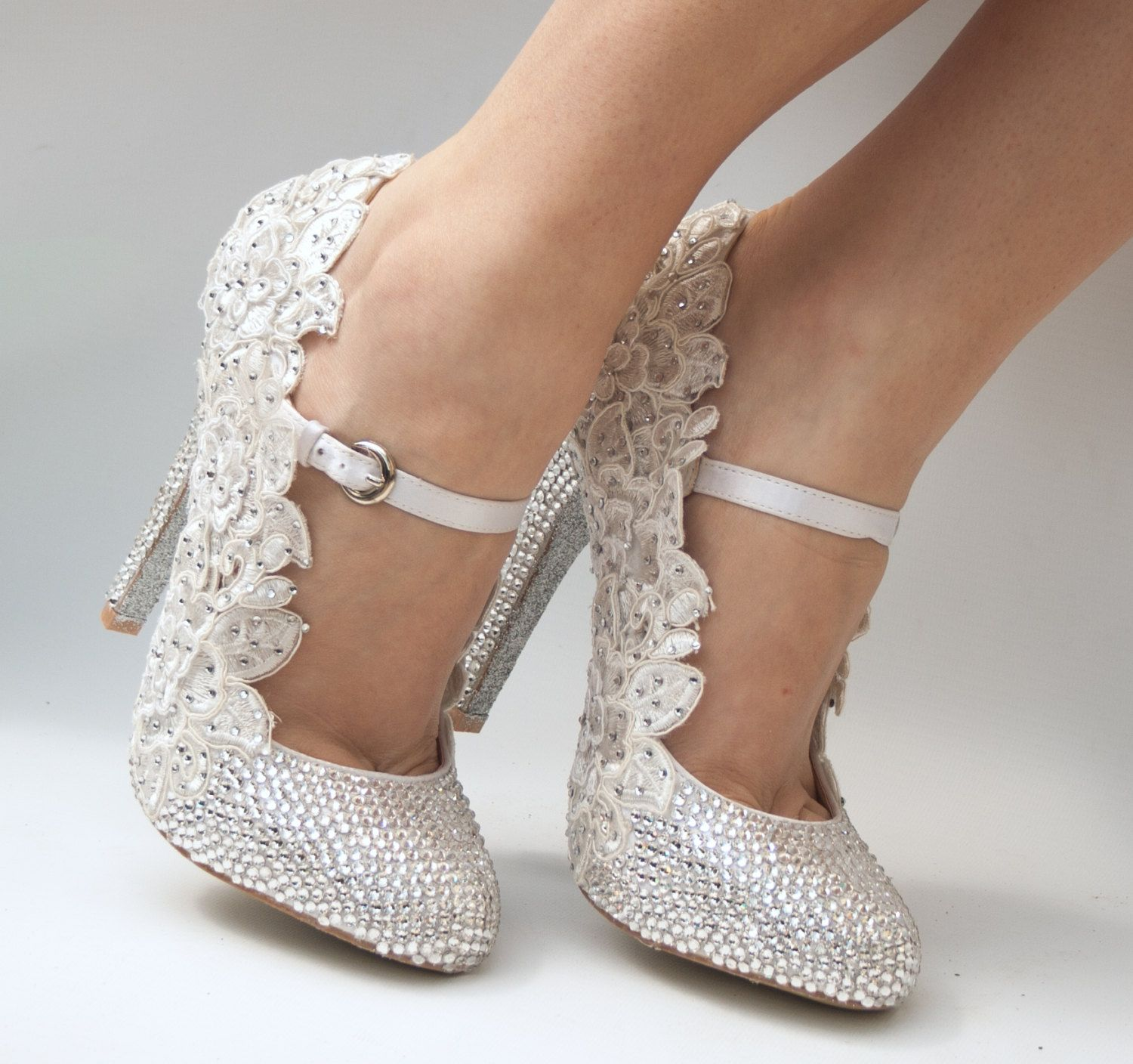 Wedding shoes for lace dress  Luxury wedding shoes with around  genuine swarovski crystals