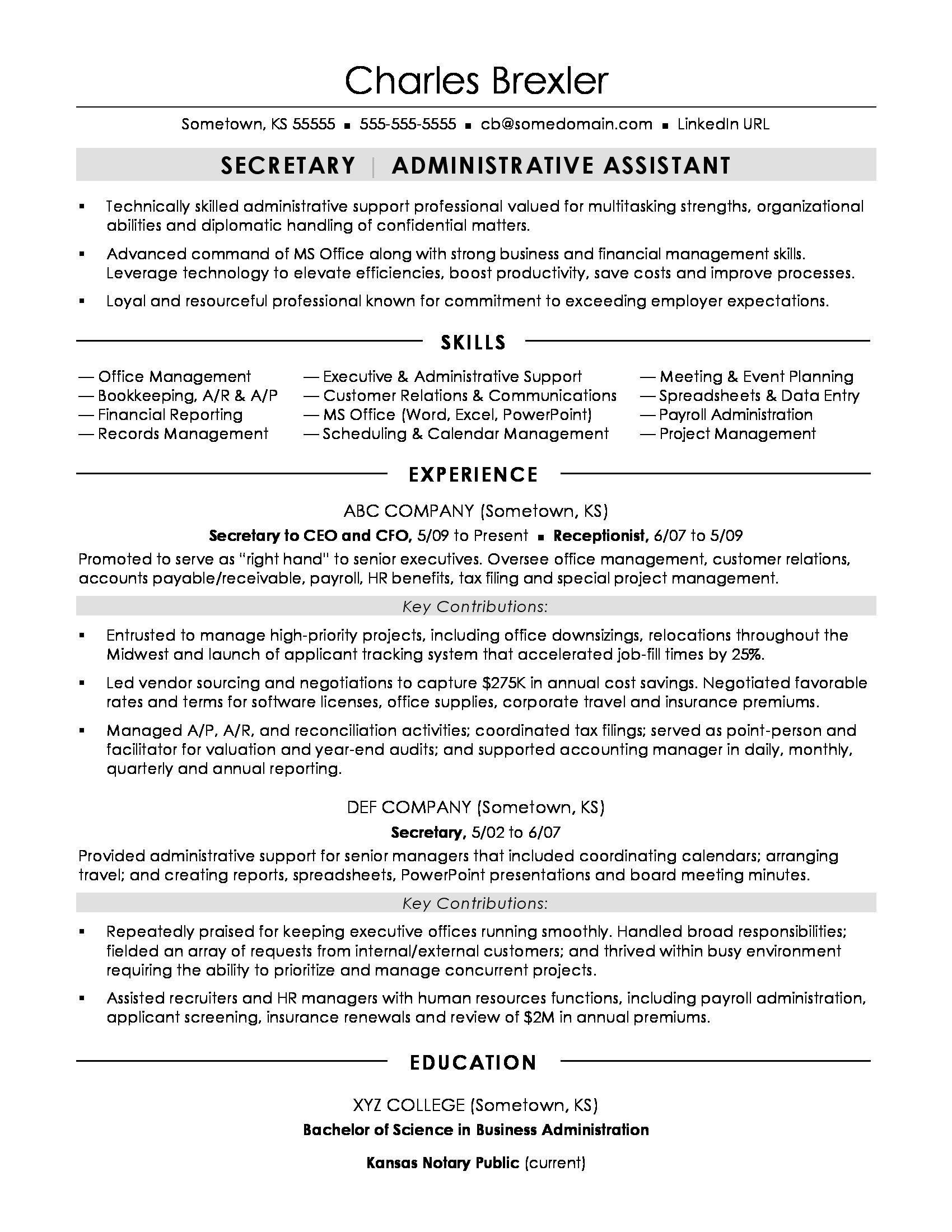 Secretary resume sample Resume words skills, Job resume