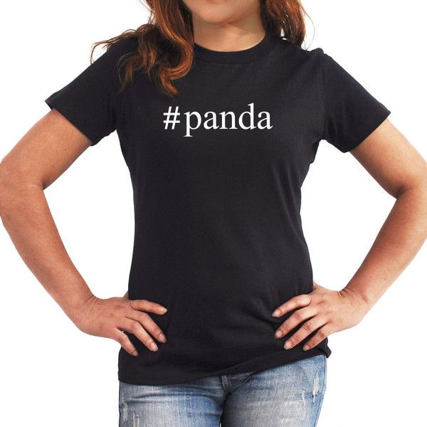 3afcc23ec57 Panda Hashtag Women T-Shirt ($17) ❤ liked on Polyvore featuring tops, t- shirts, black, women's clothing, print top, panda bear t shirt, panda top,  ...