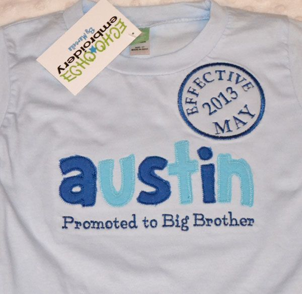 Promoted to Big Brother Shirt BABY BLUE