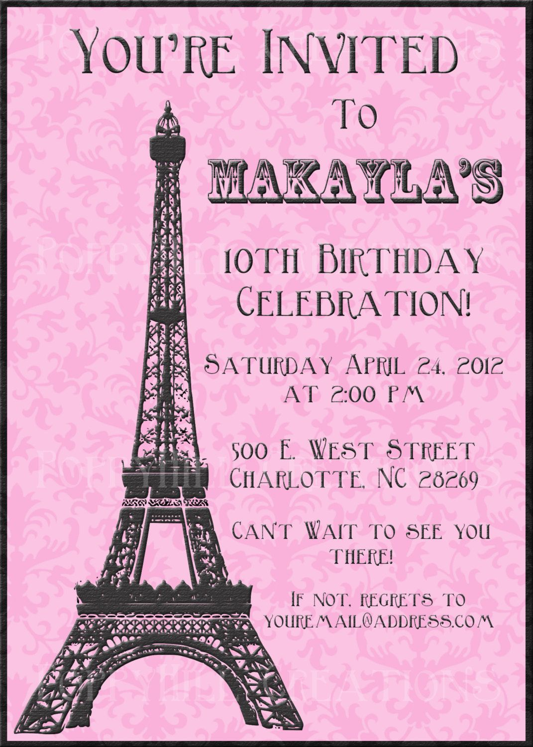 Diy Printable Eiffel Tower Invitation Black And White Or Pink And