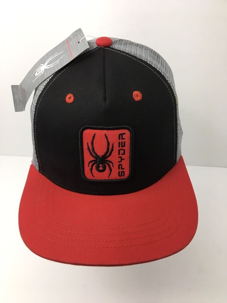 990730e3811 Spyder Trucker Hat SnapBack Embroidered Patch Black Red Gray Cap New w Tags   Spyder  TruckerHat