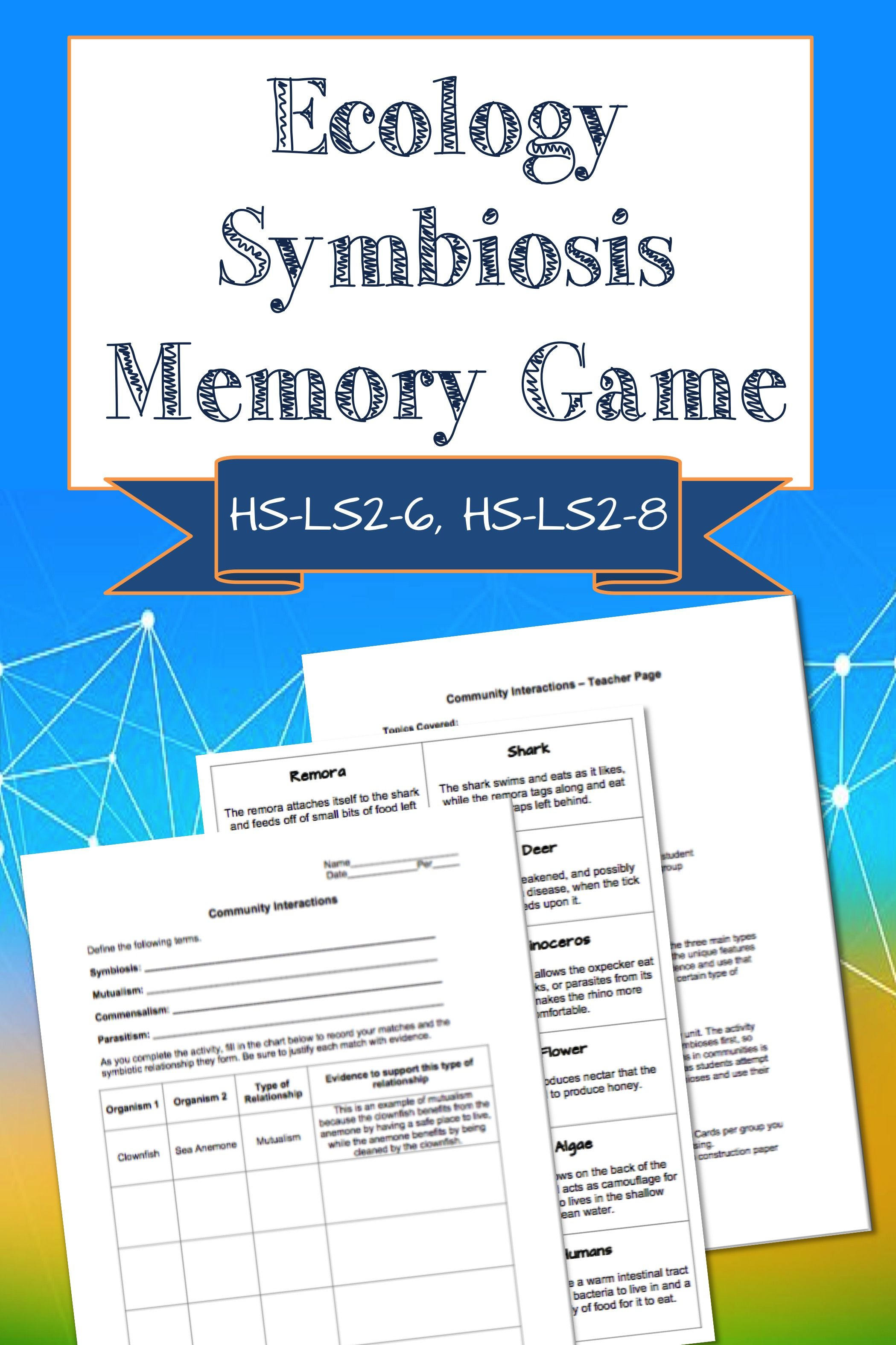 Ecology Symbiosis Memory Game Supports Hs Ls2 6 Hs Ls2 8