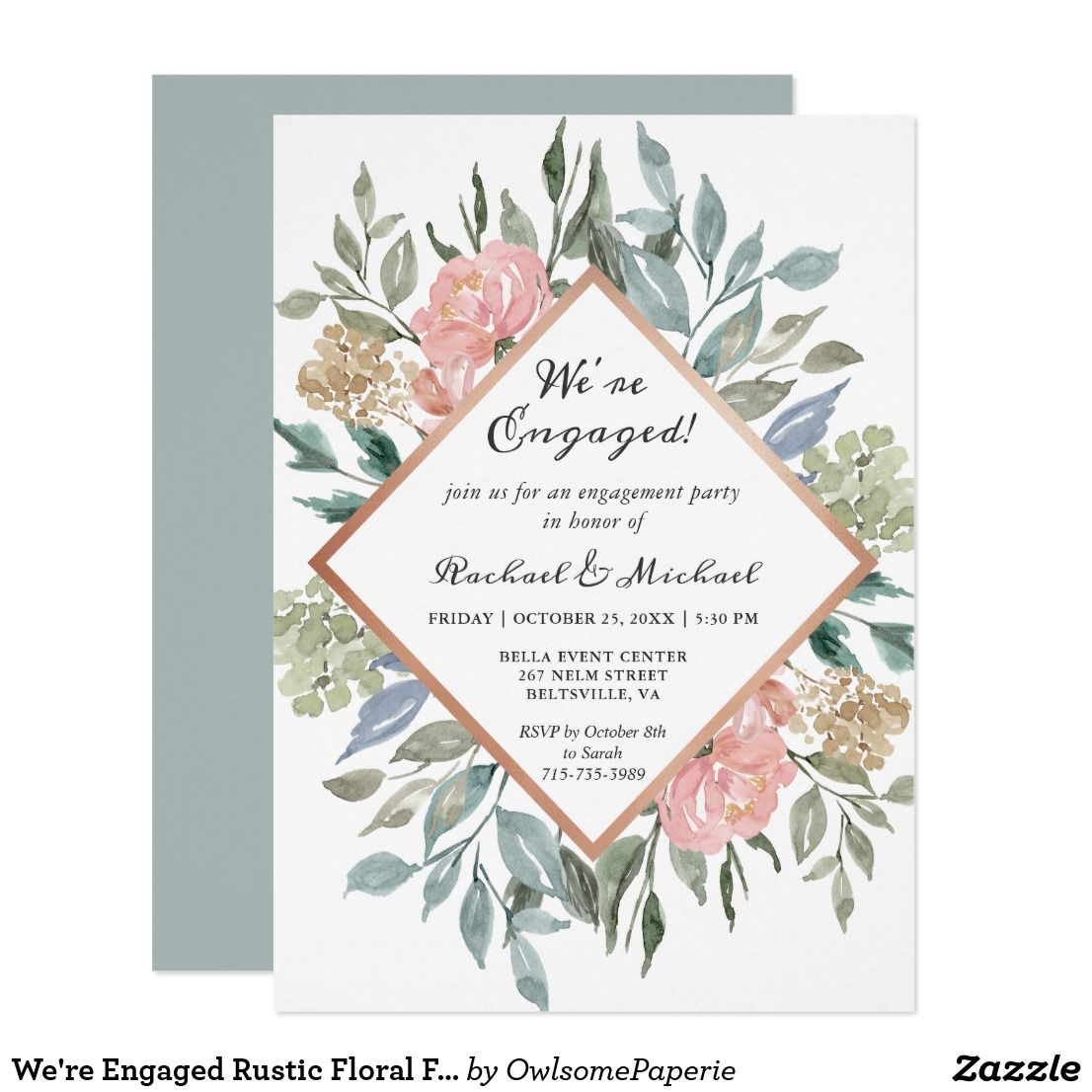 Were Engaged Rustic Floral Frame Engagement Party Invitation