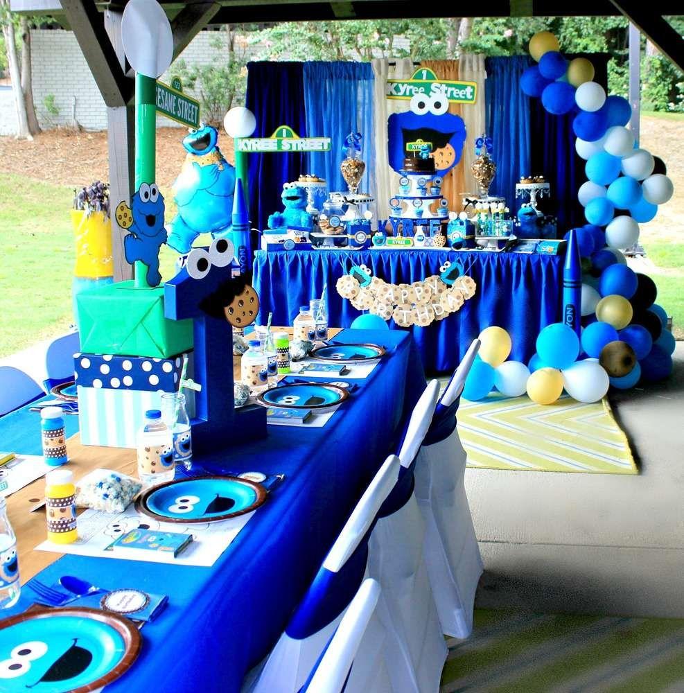 Cookie Monster Sesame Street Birthday Party Ideas Photo 1 Of 28 Cookie Monster Birthday Party Sesame Street Birthday Party Sesame Street Birthday